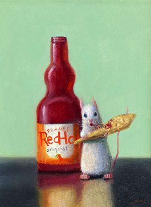 Stuart Dunkel painting of a mouse eating a spicy chip next to a bottle of hot sauce