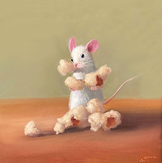 Stuart Dunkel painting of a mouse holding kernels of popcorn