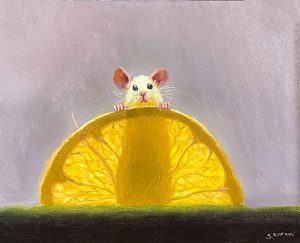 Stuart Dunkel painting of a mouse standing behind an orange slice with his silhouette