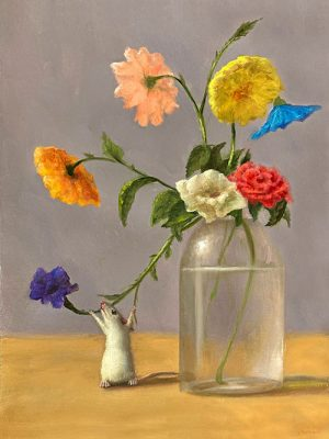 Stuart Dunkel painting of mouse looking at pretty flowers in a vase