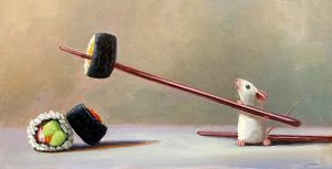 Stuart Dunkel painting of a mouse using a chopstick to spear a piece of sushi