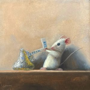Stuart Dunkel painting of a mouse trying to open a Hershey's Kiss