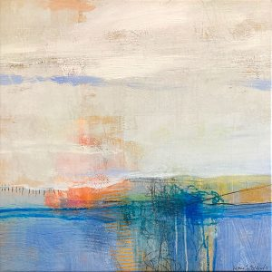 Ursula Brenner painting of abstracted cloudy beach scene at sunset