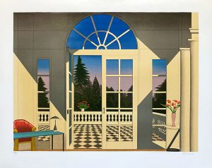 Fanch Ledan print of large winsow in home overlooking forest in Cannes, France