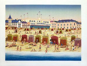 Fanch Ledan print of a sunny summer day on a crowded beach