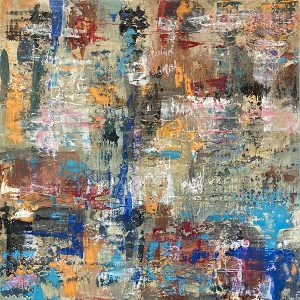 Jane Alder painting of scraped color swatches street art style