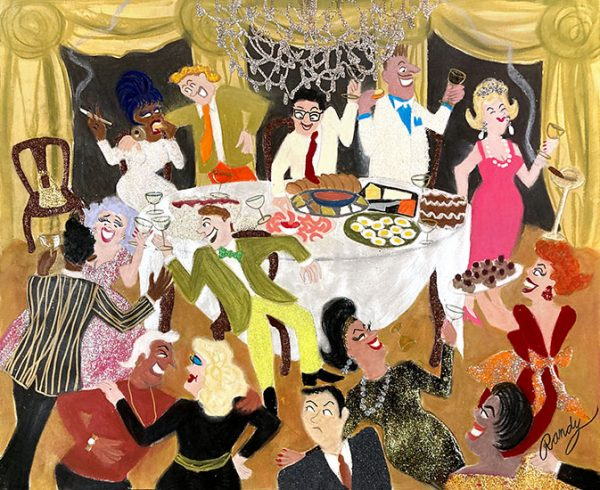 Randy Stevens pastel drawing of a group of people having a fancy party