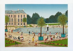 Fanch Ledan print of pool at Luxembourg gardens with people