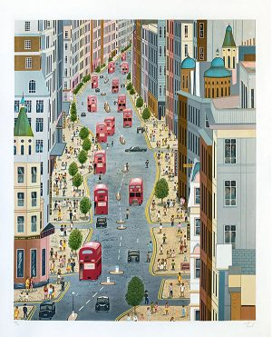 Fanch Ledan print of Oxford St. in London, England with traffic