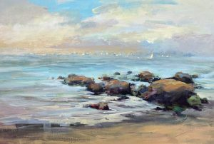 Trish Hurley painting of rock outcropping at beach with boats in background