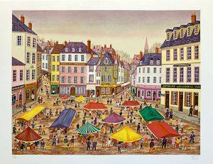 Fanch Ledan print of a busy city street market in Europe
