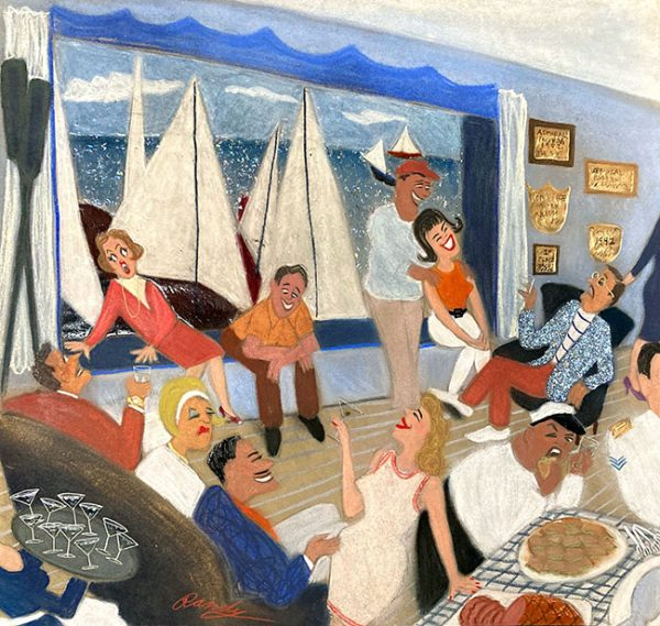 Randy Stevens pastel drawing of people having a party at a yacht club