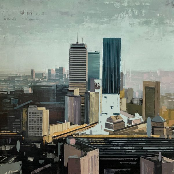 Kevin Kusiolek painting of Boston skyline in muted colors