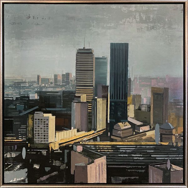 Framed Kevin Kusiolek painting of Boston skyline in muted colors
