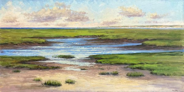 Mary Nolan painting of marshy area on sunny day