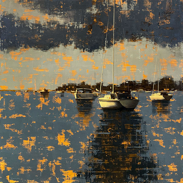 Kevin Kusiolek painting of sailboats in a harbor