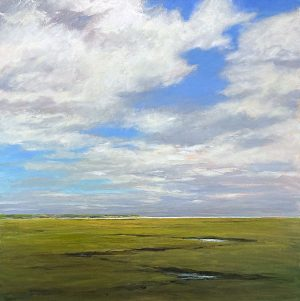 Mary Nolan painting of stream leading to ocean among grass on sunny day