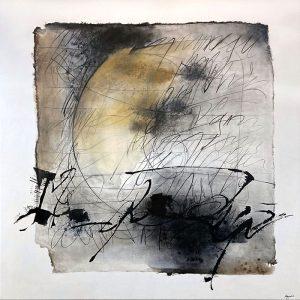 Megumi Akiyama painting of abstract lines that resemble writing