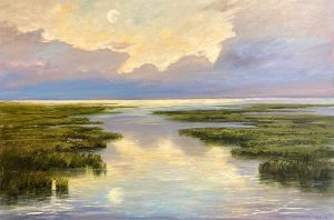 Mary Nolan painting of bright full moon reflected on water