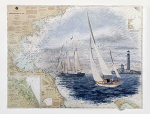 Phil Gidley painting of sailboats and lighthouse on a NOAA chart of Mass Bay
