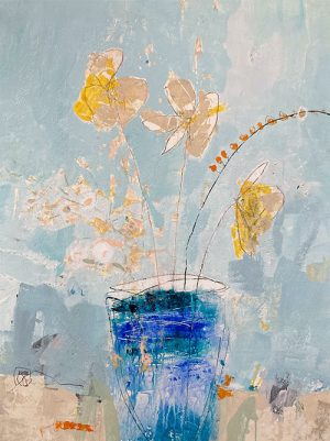 Jodi Maas painting of yellow flowers in a blue vase