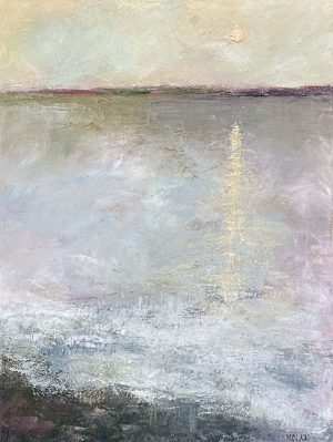 Mary Nolan painting of moon reflecting on water on a grey night