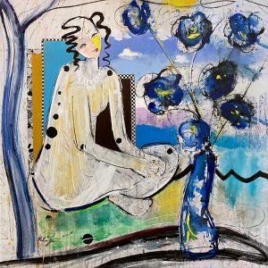Helen Zarin painting of woman with vase of blue flowers