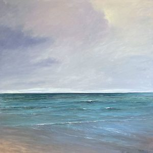 Mary Nolan painting of cloudy day at ocean with tide going out