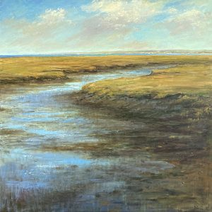 Mary Nolan painting of marshy stream flowing from ocean