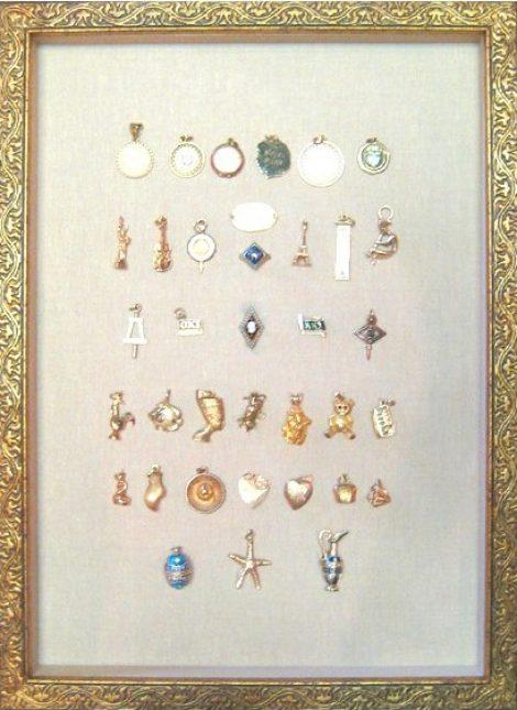 Heirloom Charm Bracelet on Linen in Gilded Ornate Frame