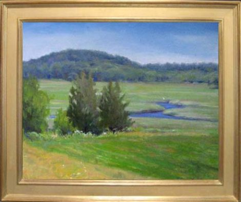 Landscape Painting in Gold Plein Air Frame