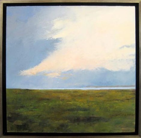 Oil Painting in 1 inch Custom Silver Floater Frame