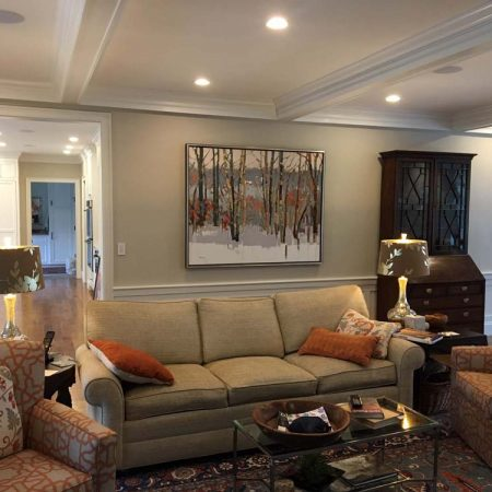 A 48x60 Josef Kote painting completes this elegant Winchester living room.