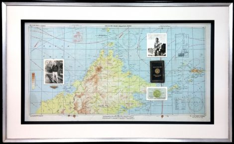 WWII Memorabilia Hand Sewn on Silk Map with Double Mat